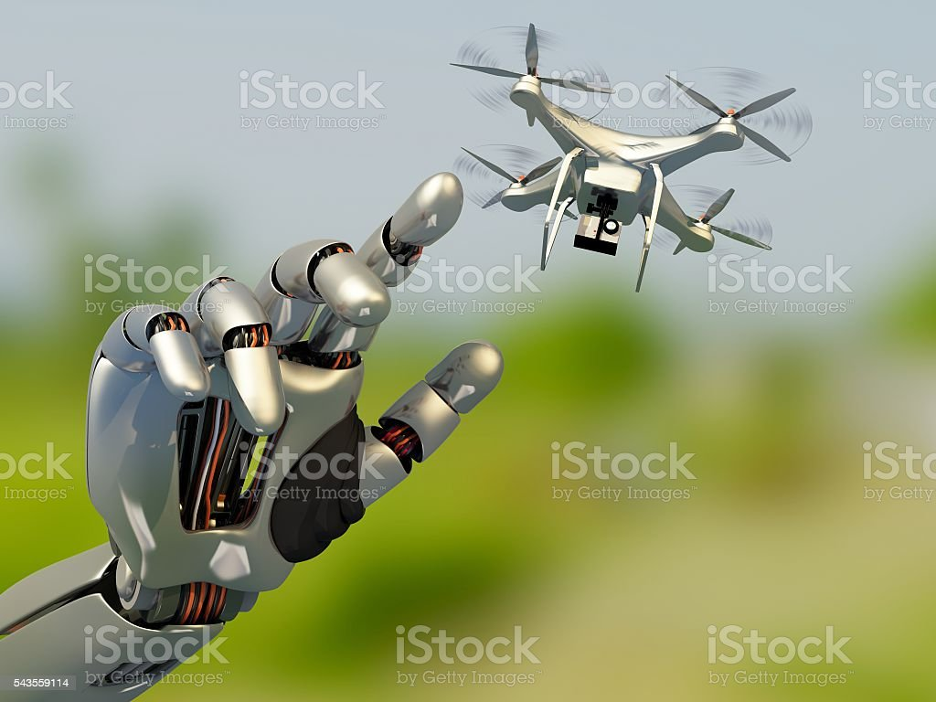 Drone and the robot. - foto de stock