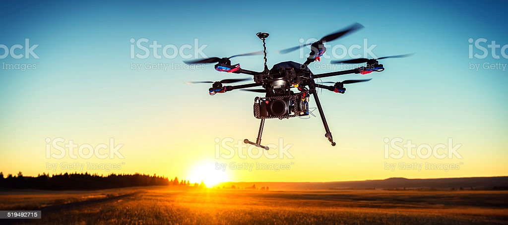 Drone at Sunset stock photo