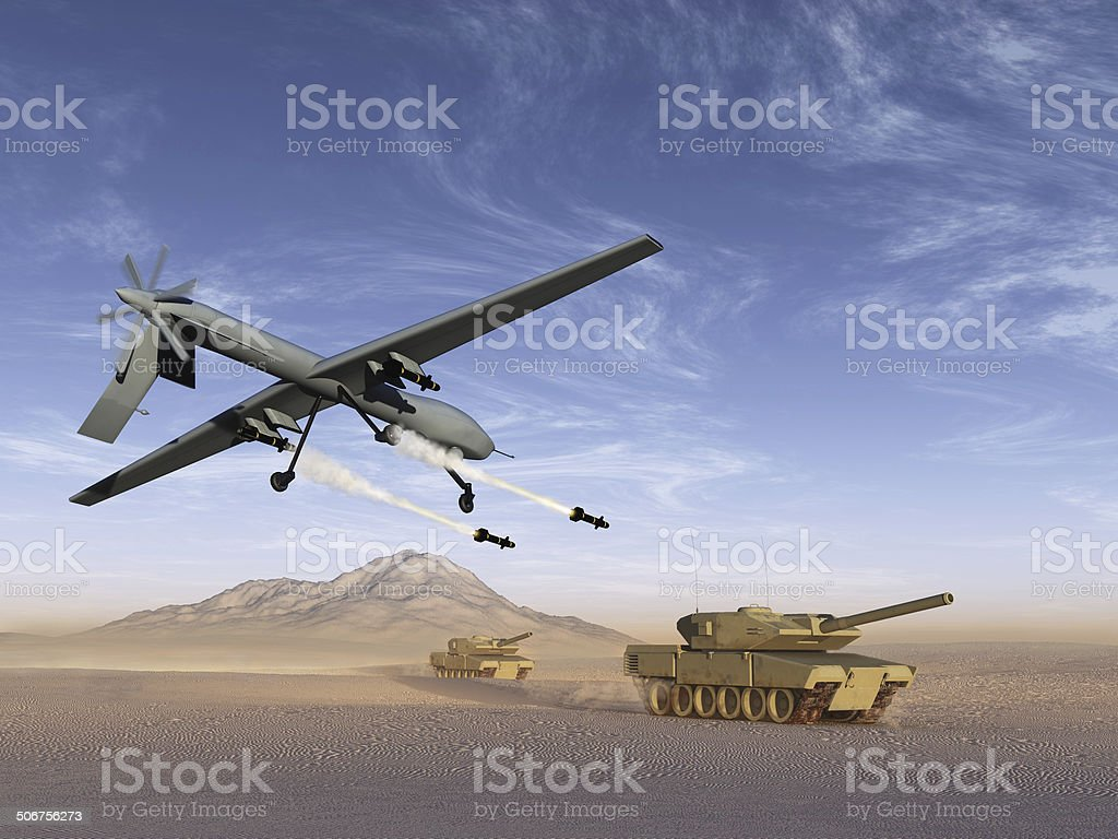 Drone attack battle tanks stock photo