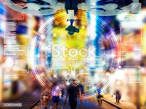 1008204650 istock photo Drone Automatic people city defocused tokyo japan 1028534400
