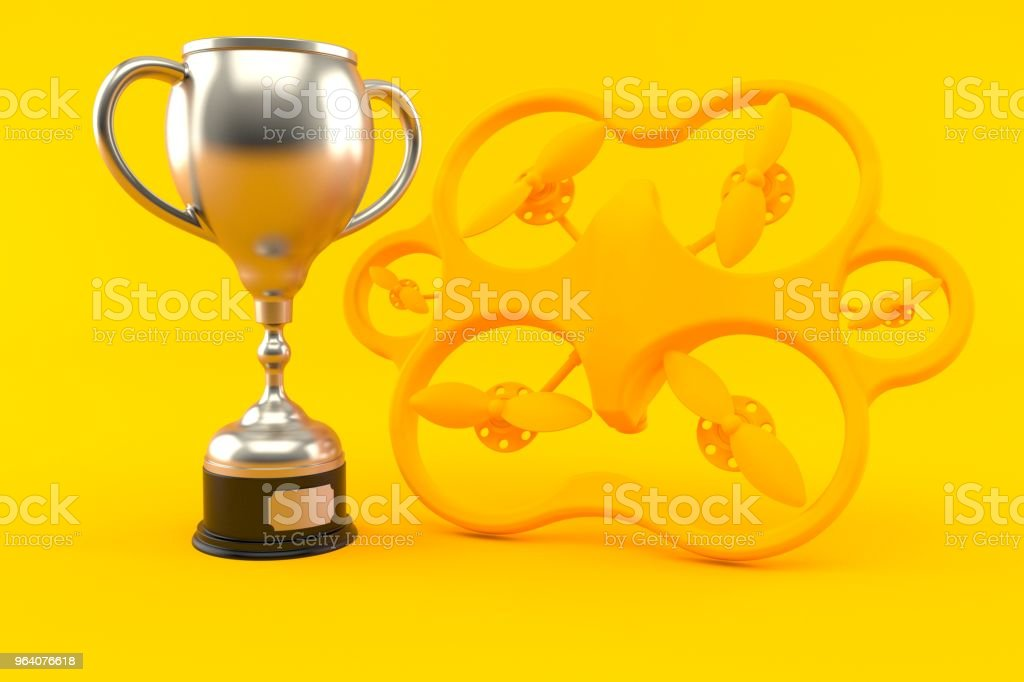 Drone background with trophy - Royalty-free Achievement Stock Photo