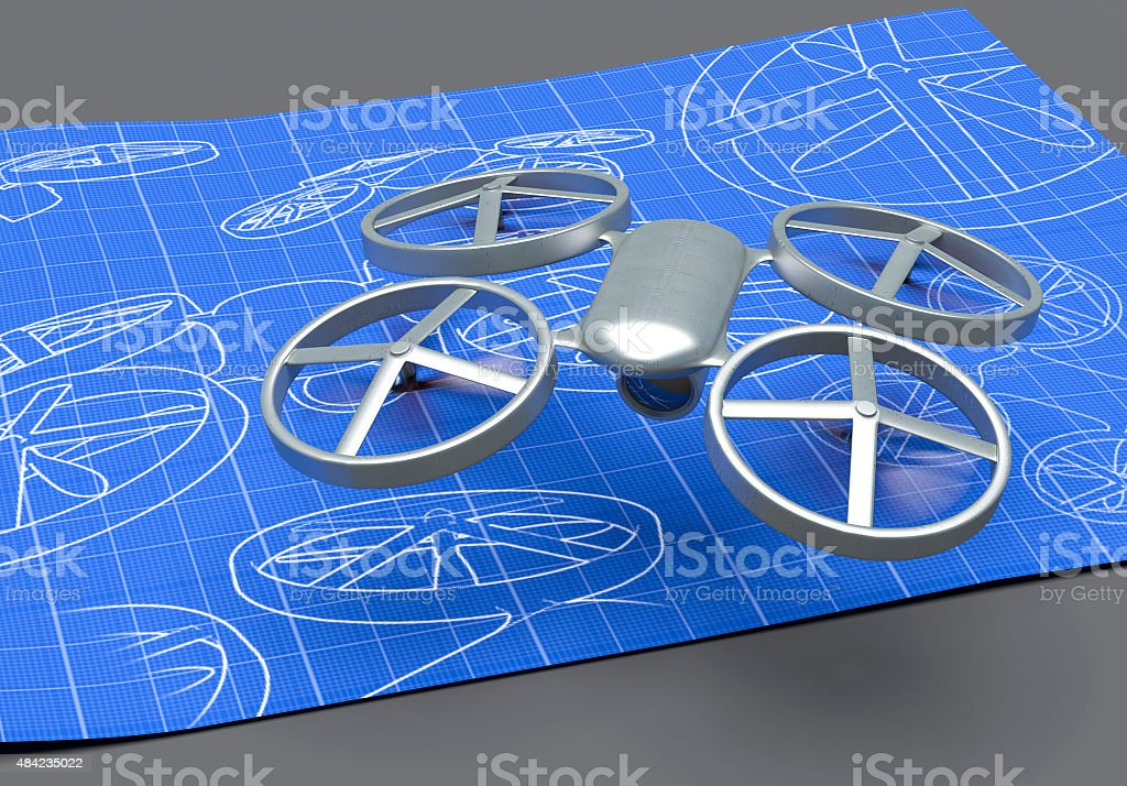 Drone blueprint stock photo