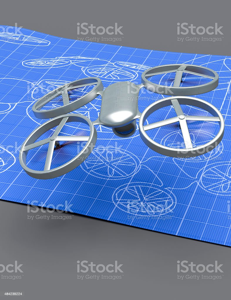 Drone blueprint stock photo