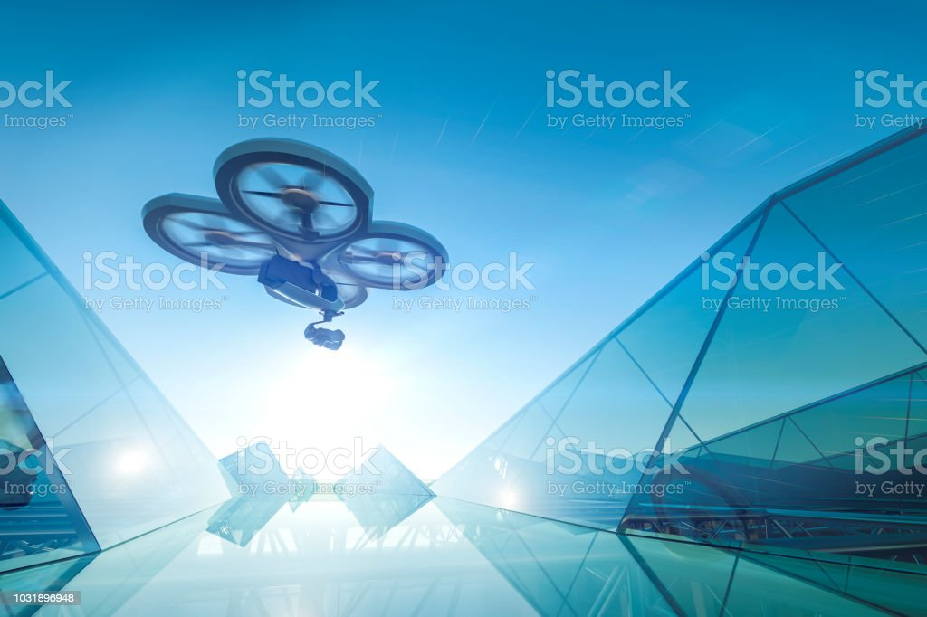 Drone building stock photo