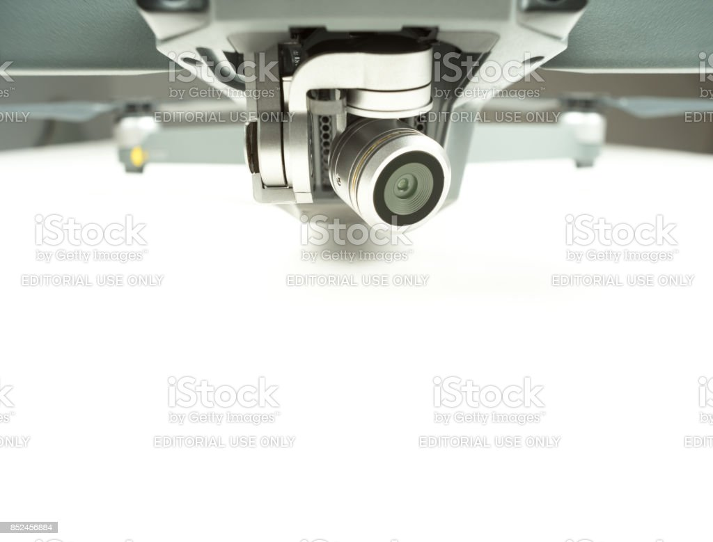 Drone camera lens stock photo