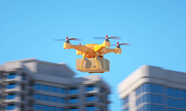 Drone carrying a parcell stock photo