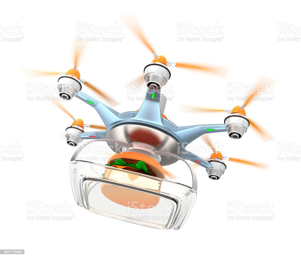 Drone Carrying Hamburger For Fast Food Delivery Concept Royalty Free Stock Photo