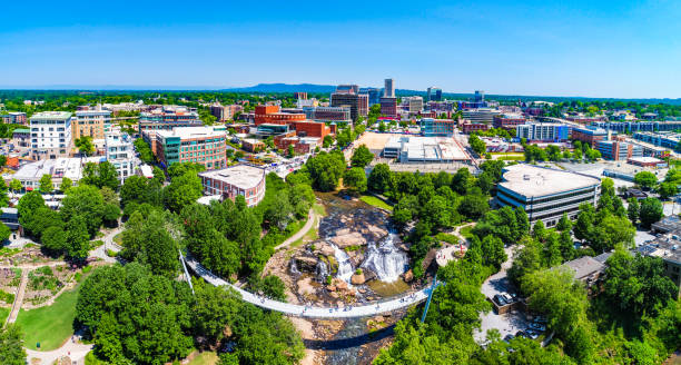 Drone City Aerial of Downtown Greenville South Carolina Drone city aerial image of downtown Greenville South Carolina SC. south carolina stock pictures, royalty-free photos & images