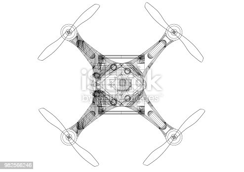 istock Drone Concept Architect Blueprint - isolated 982566246