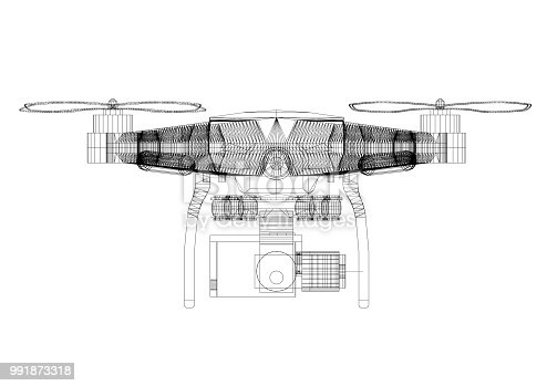 istock Drone Concept Architect Blueprint - isolated 991873318