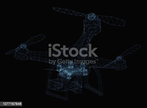 istock Drone concept consisting of luminous lines 1077167648