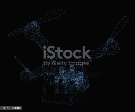 istock Drone concept consisting of luminous lines 1077167654