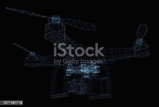 istock Drone concept consisting of luminous lines 1077167718