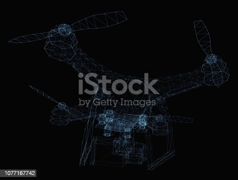 istock Drone concept consisting of luminous lines 1077167742