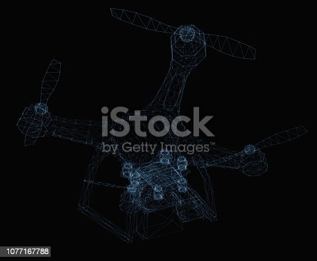 istock Drone concept consisting of luminous lines 1077167788