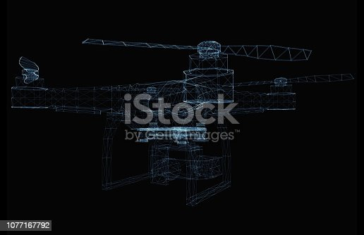 istock Drone concept consisting of luminous lines 1077167792