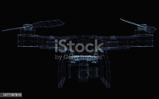 istock Drone concept consisting of luminous lines 1077167810