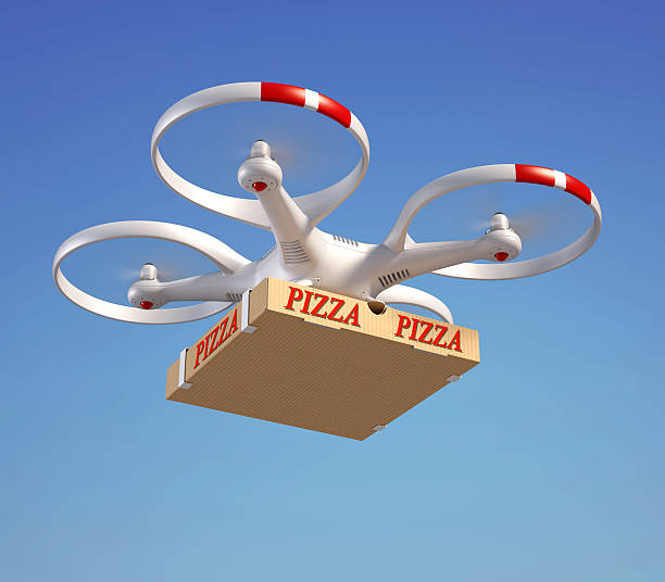 drone delivering pizza box - delivery robot bildbanksfoton och bilder
