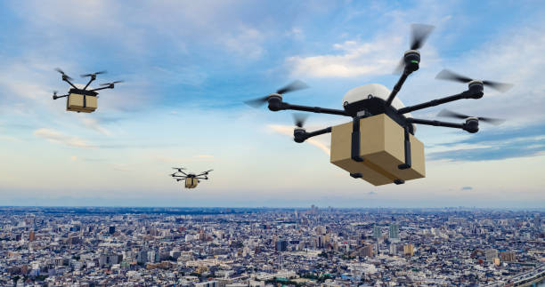 Drone delivery concept. Autonomous unmanned aerial vehicle used to transport packages. 3D rendering. Drone delivery concept. Autonomous unmanned aerial vehicle used to transport packages. 3D rendering. drone point of view stock pictures, royalty-free photos & images