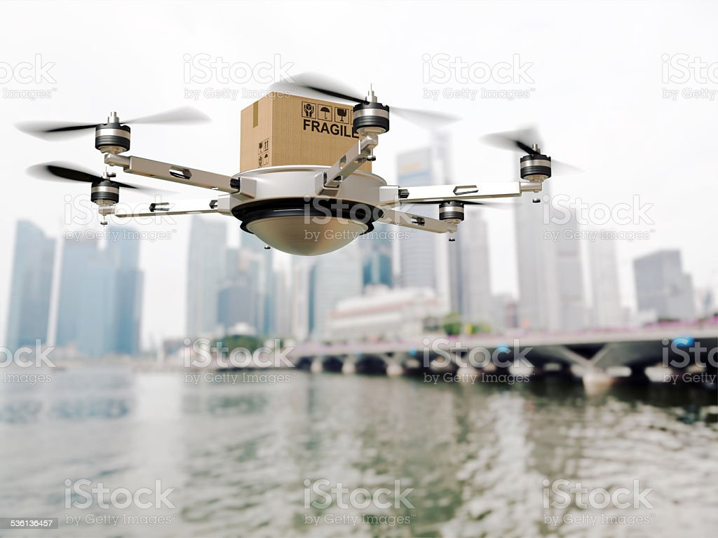 drone delivery stock photo
