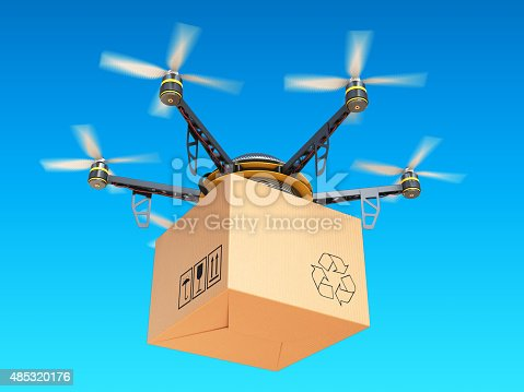 istock Drone express air delivery in sky, airmail concept. 485320176
