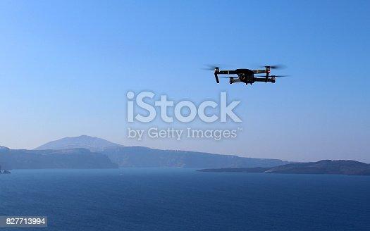 istock Drone Filming View of Santorni Island 827713994