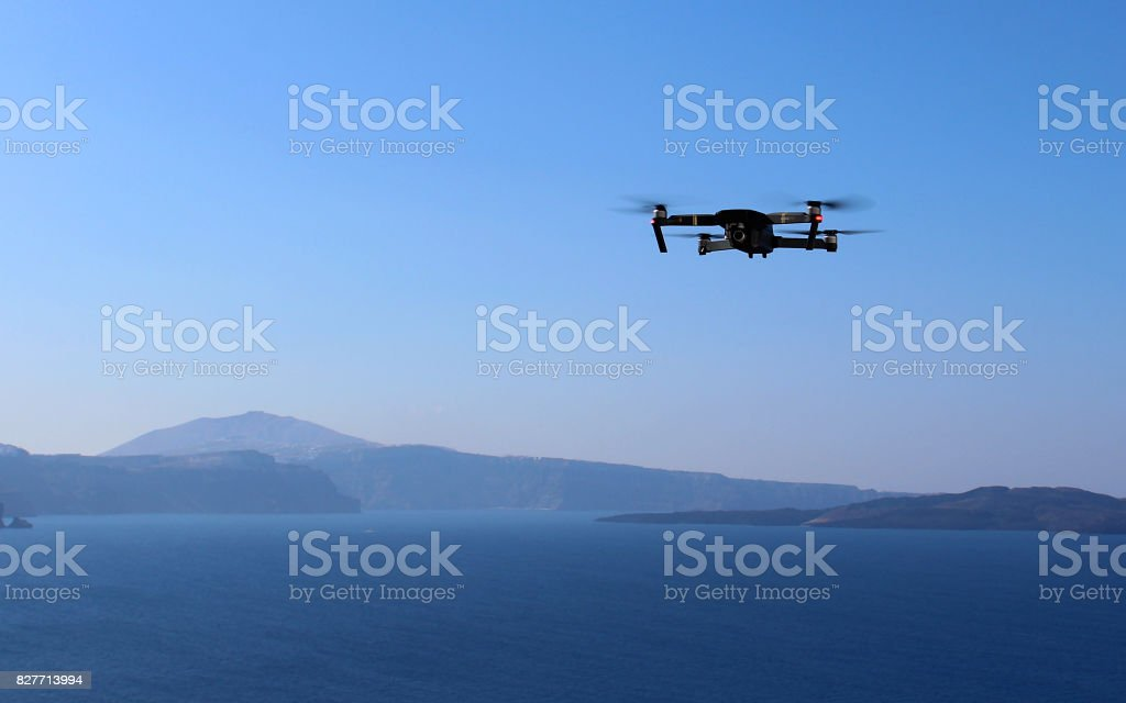 Drone Filming View of Santorni Island stock photo