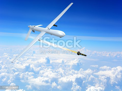 509897009 istock photo Drone firing missile 1198222693