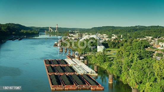 istock Drone Flight Towards Coal Barges on the Monongahela River in West Elizabeth, Pennsylvania 1301677087