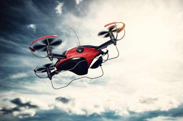 Drone flying at sunset. Sun shining on dramatic sky. stock photo