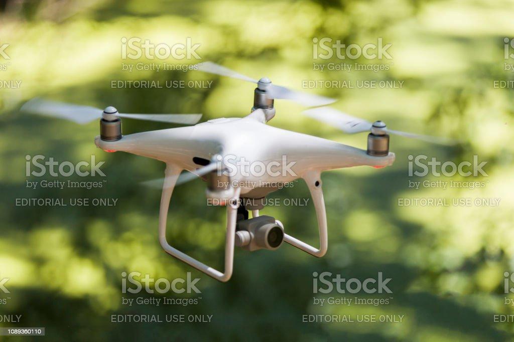 Drone Flying Forward Toward Subject stock photo