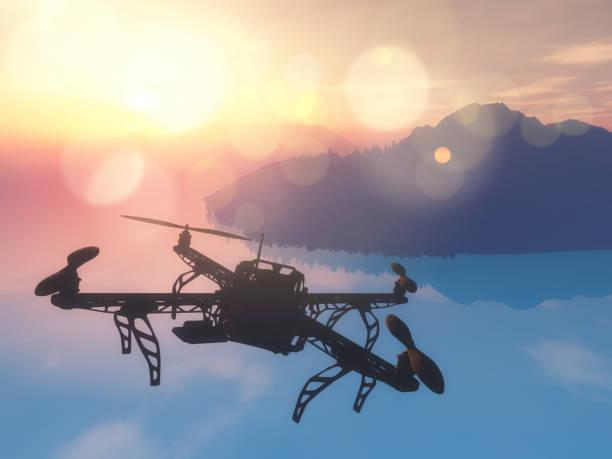 3d drohne fliegen über das meer mit einem sonnenuntergang himmel - flugdrohne stock-fotos und bilder