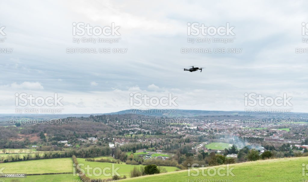 Drone flying over the view from Box Hill in the Surrey Hills, England, UK stock photo