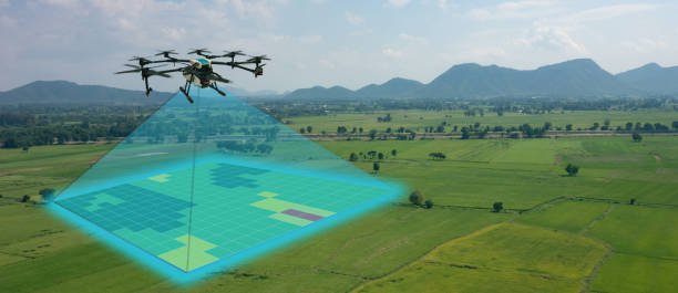 drone for agriculture, drone use for various fields like research analysis, safety,rescue, terrain scanning technology, monitoring soil hydration ,yield problem and send data to smart farmer on tablet - drones stock pictures, royalty-free photos & images