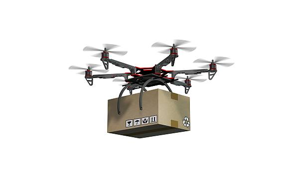 Drone Hexacopter delivers a package - isolated on white – Foto