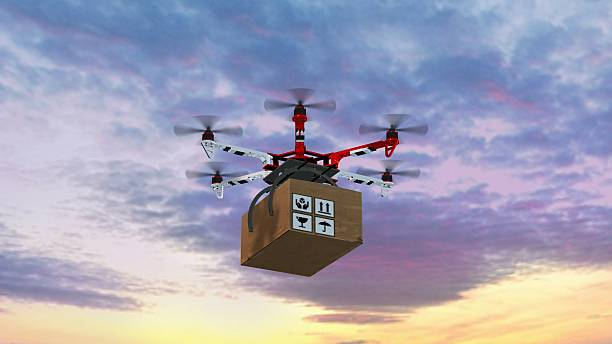 Drone Hexacopter delivers a package – Foto