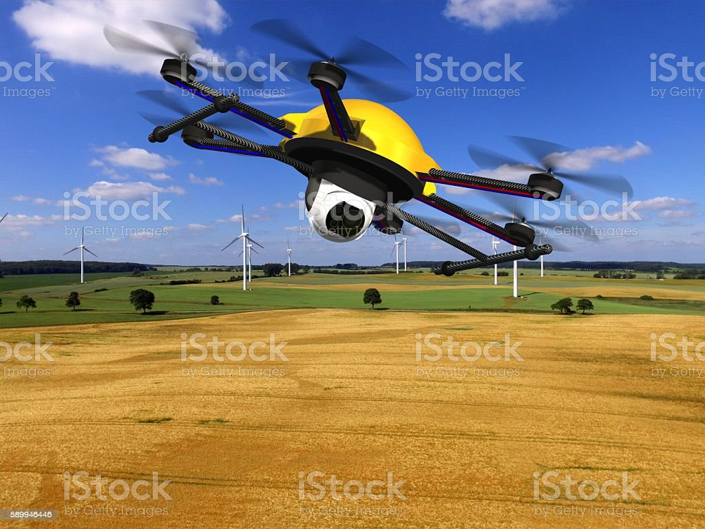 drone hexacopter with camera fly over golden fields – Foto