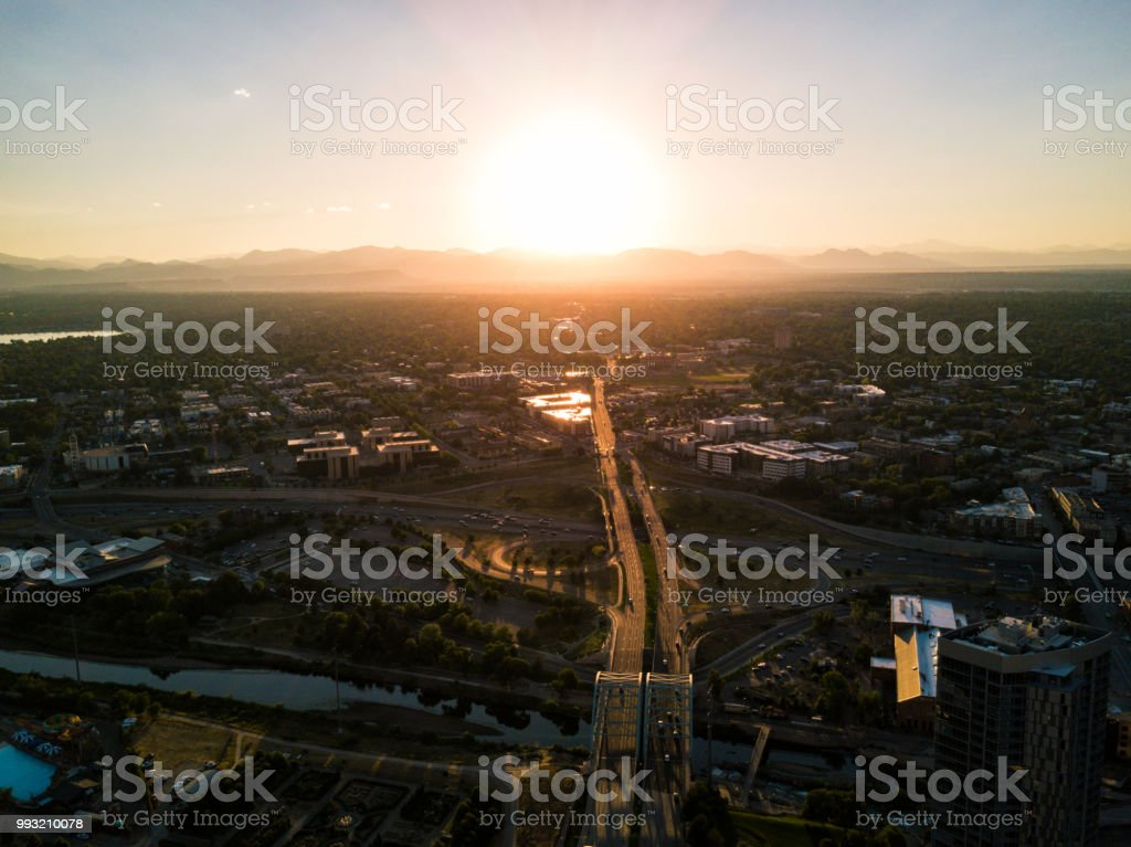 Drone  - Highway from Denver Colorado heading to mountains stock photo