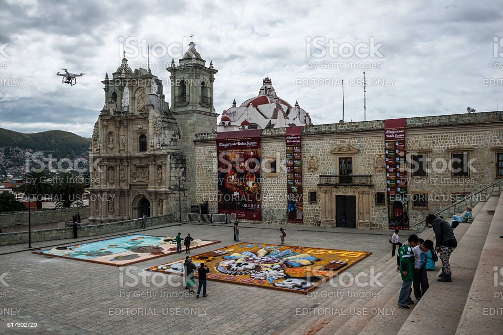 Drone hovering above art in Oaxaca, Mexico stock photo