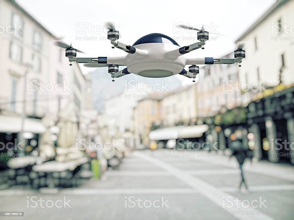 drone in city stock photo