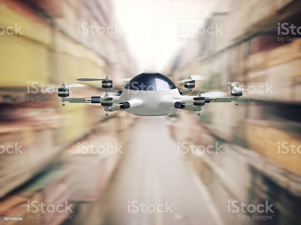 drone in warehouse stock photo