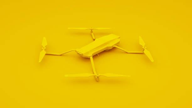 drone isolated on yellow background. 3d illustration - telecomando background foto e immagini stock