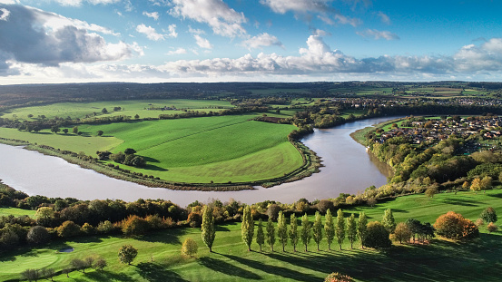 A drone landscape of Bristol, UK, with the River Severn snaking its way through the surrounds