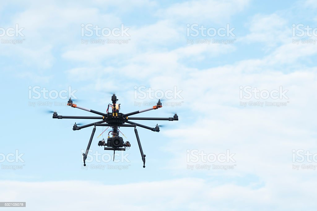 Drone octocopter flight. stock photo