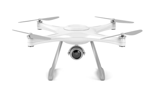 drone on white background - drones stock pictures, royalty-free photos & images