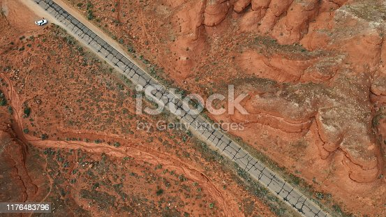 Drone over road and badlands, near Canyonlands, Utah