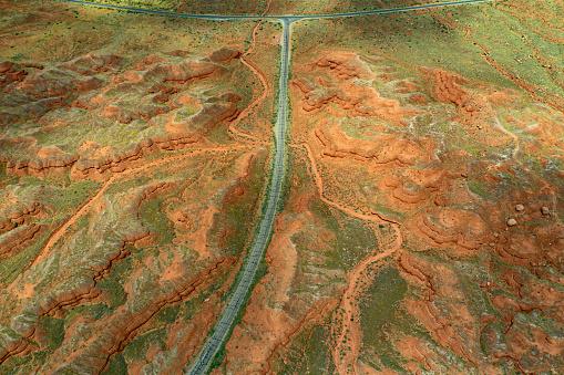 Drone over the Colorado plateau, near Canyonlands, Utah