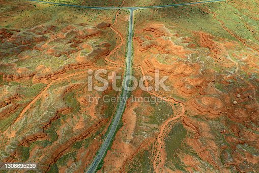 Drone over the Colorado plateau, near Canyonlands, Utah
