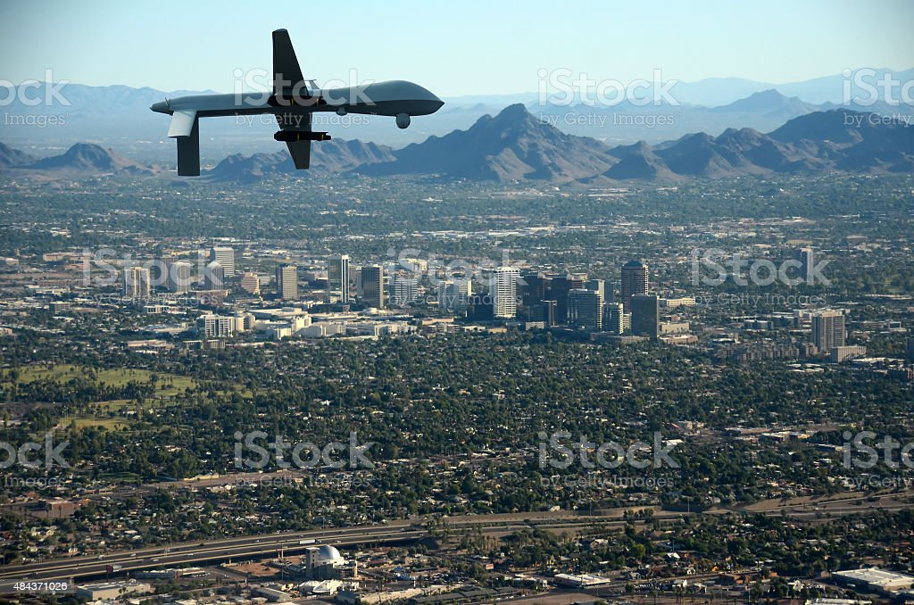 Drone over US city stock photo