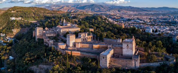Drone photo - Alhambra medieval castle at sunset.  Granada, Spain stock photo